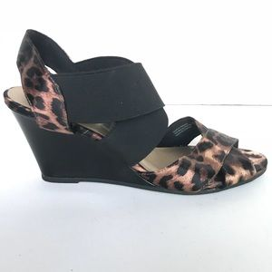 Predictions Leopard Satin Strappy Wedge Sandals 7